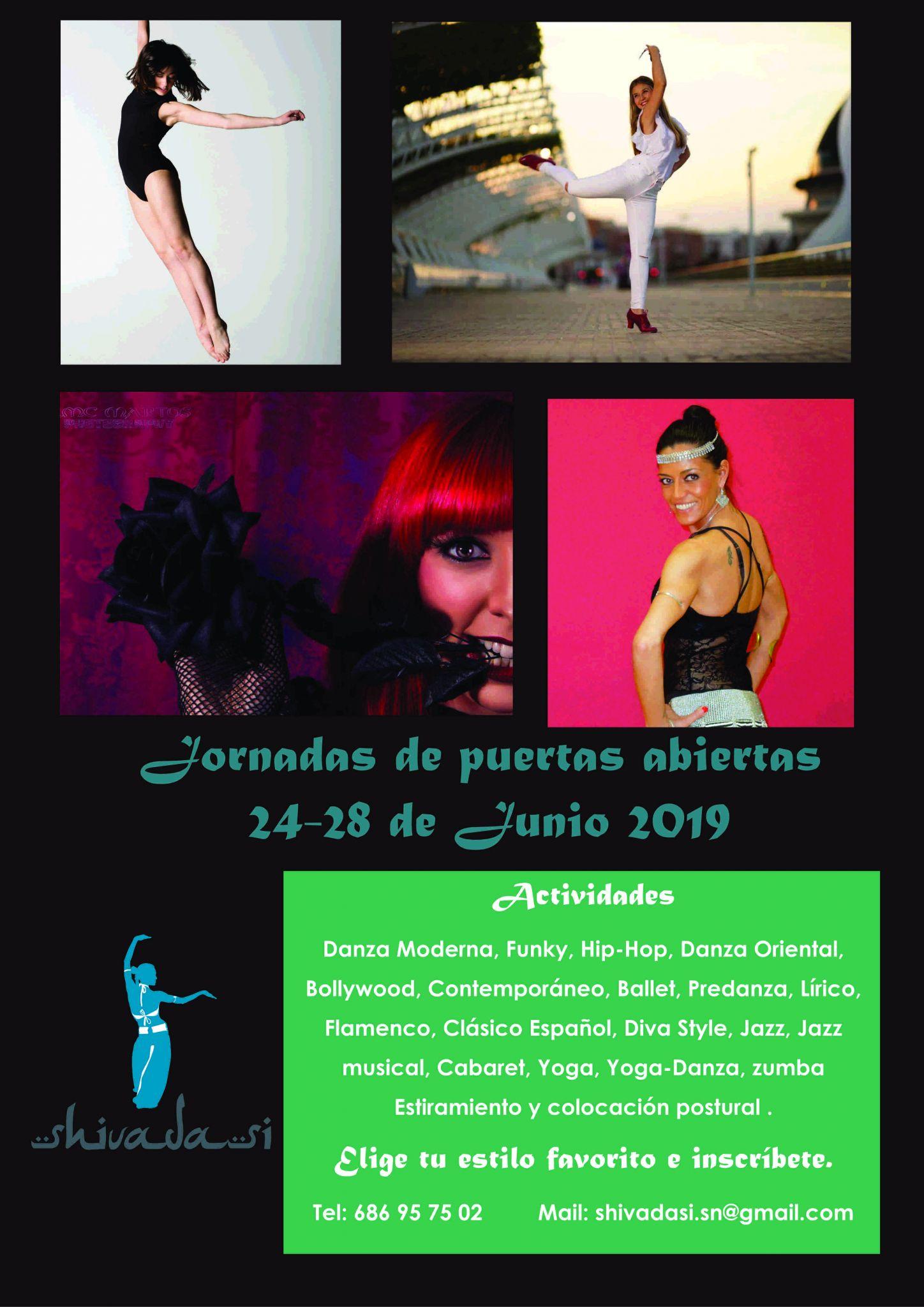 Shivadasi - Jornada de Puertas Abiertas - POSTER JPS 2019 - Escuela de Danza - Las Tablas, Madrid